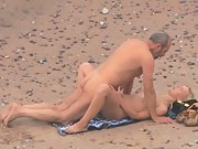 Mature couple public sex on beach caught on voyeur camera lens