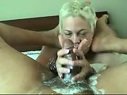 Nasty Cream Handjob By Blonde Wifey