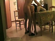 Fuck in the living room on the table banging an older woman