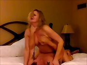 Blonde cuckold milf orgasming on a stranger's dick as her husband films