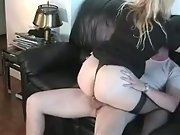 Amateur sex on a black leather sofa nice oral and hot banging action