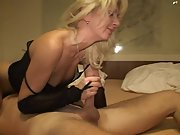 Blonde milf bouncing up and down a strangers erect cock