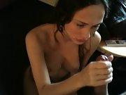 Attractive French wife giving great head and taking a cumshot on her face in POV