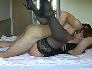 Mature wife having hot sex with husband in marital bed at home