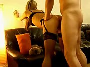 Hot girl wearing stockings and suspenders bent over fuck