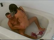 Young couple caught screwing in bathroom on hidden camera