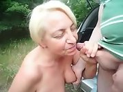 Sexy senior outside blowjob great skills nice facial