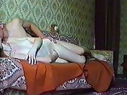 Home sex movie recorded on sofa with young skinny white girl