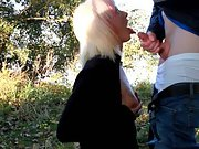 Blonde girlfriend gets facialed in the nature